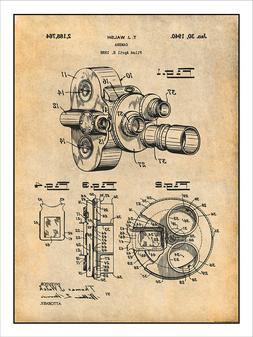 1938 Bell & Howell Movie Camera Patent Print Art Drawing Pos